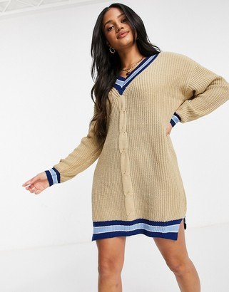 Liquorish premium sweater dress with varsity stripes in beige