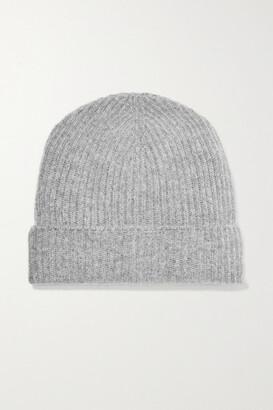 Johnstons of Elgin + Net Sustain Ribbed Cashmere Beanie - Light gray