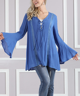 Blue Sheer Lace-Up Bell-Sleeve Tunic