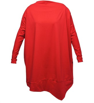 Non+ Non478 Red Asymmetric Tunic Dress With Long Sleeves