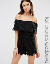 Missguided Tall Bardot Pom Pom Romper