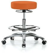 Height Adjustable Massage Therapy Swivel Stool with Foot Ring Perch Chairs & Stools Color: Orange Kist Vinyl, Upholstery: Vinyl