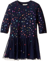 Stella McCartney India Star Print Knit Dress w/ Tulle Skirt Girl's Dress