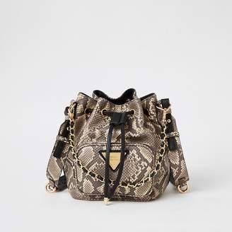 River Island Grey snake printed chain bucket bag