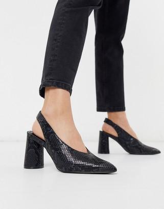 Miss Selfridge slingback heeled shoes in snake print