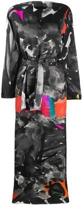 Abstract-Print Tie-Waist Dress