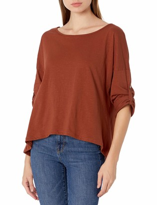 M Made in Italy Women's Roll-Tab Sleeve Crewneck Blouse Top