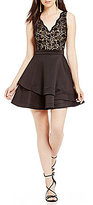 B. Darlin Lace Bodice Fit-And-Flare Dress
