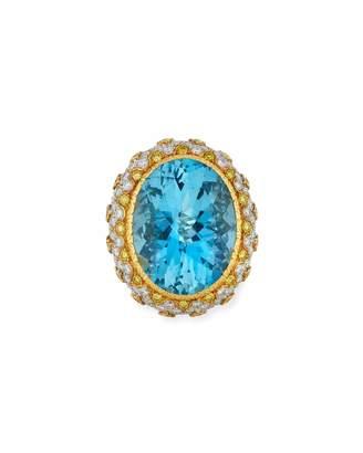 Buccellati 18k Two-Tone Oval Aquamarine & Diamond Ring, Size 7