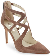 BCBGeneration Smokey Taupe Torpido Pointed Toe Caged High Heel Pumps