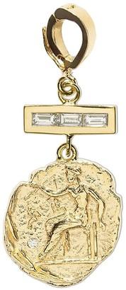 Azlee Triple Baguette Diamond Bar Small Aphrodite Coin Yellow Gold Charm