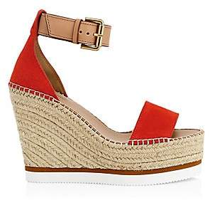a4d013531 See by Chloe Women's Glyn Leather Espadrille Platform Wedge Sandals
