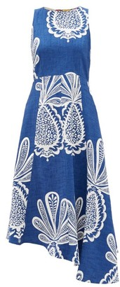 La DoubleJ Pina Big Pineapple-print Cotton-blend Midi Dress - Blue Print
