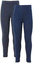 John Lewis Girls' Stripe And Polka Dot Leggings, Pack of 2, Grey/Blue