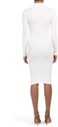 Juniors Ribbed Caged Sleeve Midi Dress