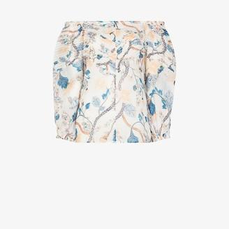 Chloé Ramie off-the-shoulder floral blouse