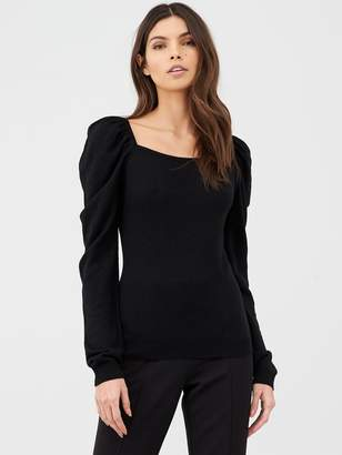 Very Puff Sleeve Square Neck Knitted Top - Black