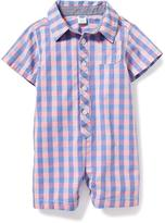 Old Navy Gingham Button-Front One-Piece for Baby