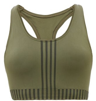 Ernest Leoty - Raphaelle Striped Racerback Sports Bra - Womens - Dark Green