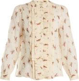 Masscob Ruffle-trimmed floral-print silk-chiffon blouse