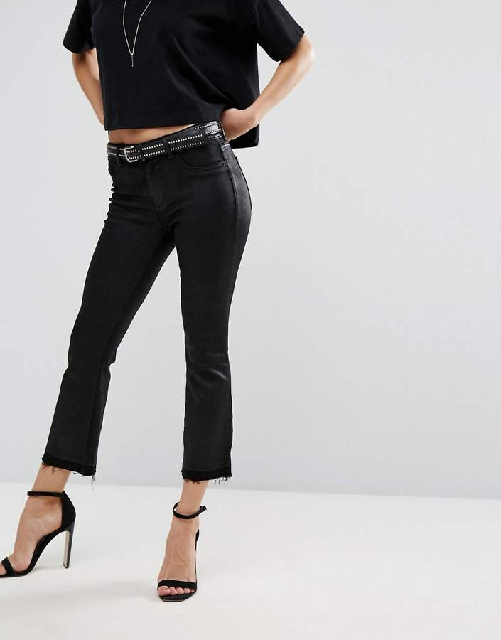 DL1961 Lara Coated Cropped Bootcut Jean with Raw Frayed Hem
