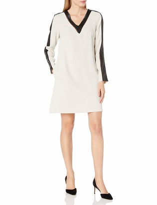 Julia Jordan Women's Long Sleeve Vegan Leather Insets Shift Dress with Pockets