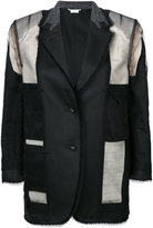 Thom Browne Inside Out Single Breasted Sack Jacket With Fray & Lace Insert In Black Super 120's Wool Twill