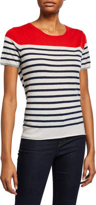 Majestic Colorblock Striped Short Sleeve Cashmere T-Shirt