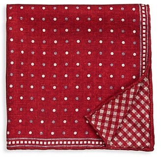 Brunello Cucinelli Gingham Silk Pocket Square