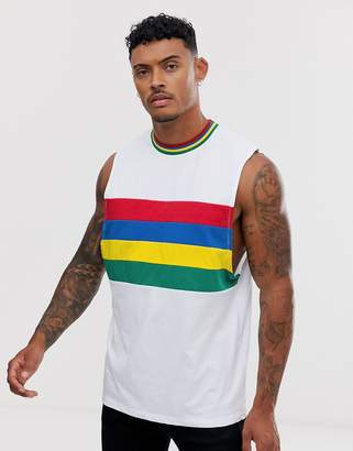 Asos Design DESIGN relaxed sleeveless t-shirt with dropped armhole with rainbow colour block and tipping-Multi