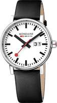 Mondaine Men's 'SBB' Swiss Quartz Stainless Steel and Leather Casual Watch, Color:Black (Model: MSE.40210.LB)