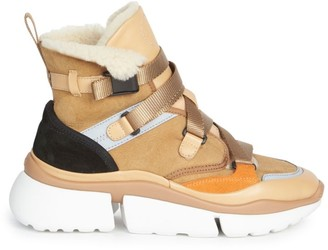 Chloé Sonnie High-Top Lamb Fur-Lined Sneakers
