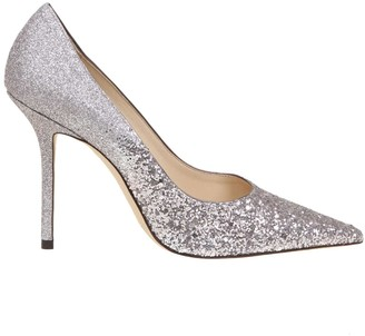 Jimmy Choo Decollete love 100 In Lilac Color Glittery Fabric