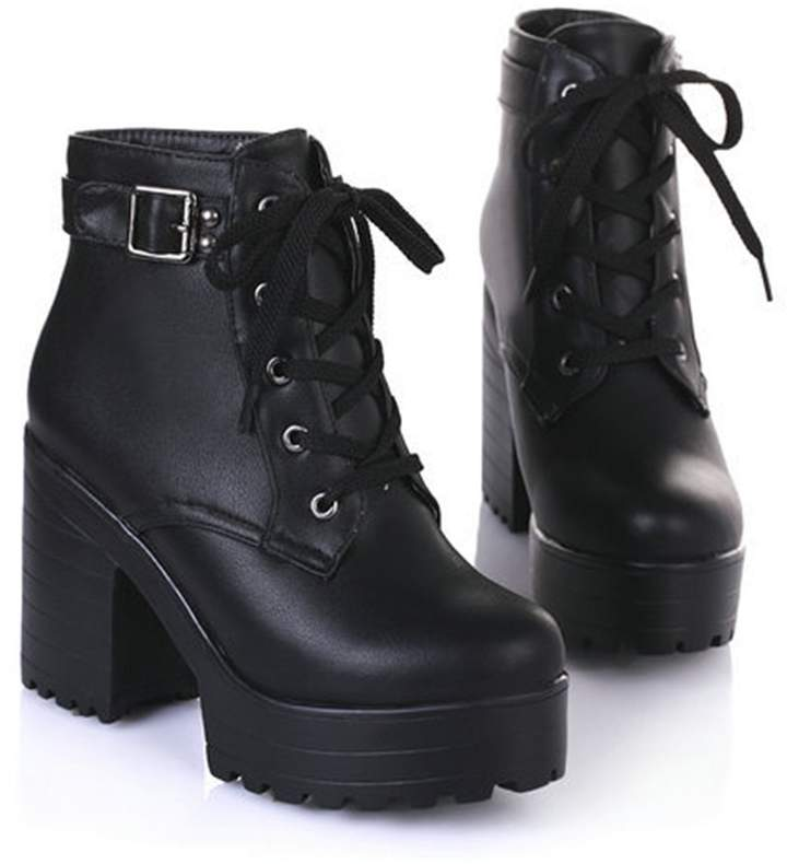 2a32a46fcd798 Dahanyi boots Dahanyi Stylish New Women Ankle Boots Round Toe Platform  Buckle Square High Boots for Women Fashion Winter Punk Shoes Size 34-43 7
