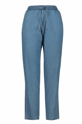 GINA LAURA Women's Hose Light Denim Mit Tunnelzug Trouser