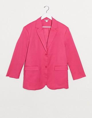 Monki Grace satin blazer in pink