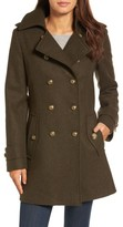London Fog Women's Wool Blend Skirted Military Coat
