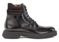HUGO BOSS Italian-made boots in smooth leather with padded collar