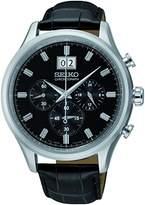 Seiko SPC083P2 – Watch Men – Quartz – Chronograph – Black Dial – Black Leather Strap