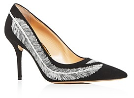 Charlotte Olympia Women's Emilia Feather Embroidered High-Heel Pumps