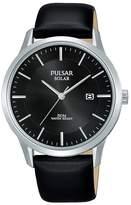 Pulsar - Men's Black 'Solar' Analogue Leather Strap Watch Px3163x1