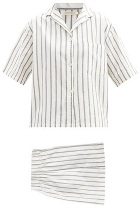 General Sleep - Camilla Striped Organic-cotton Pyjama Set - Blue Stripe