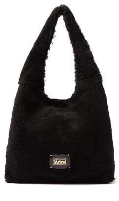Aries Large Shearling Tote Bag - Black