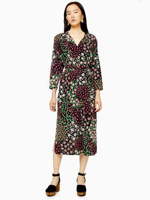 Topshop Tie Smock Midi Dress - Mulberry