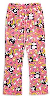 Candy Pink Girls' Rainbow Panda Fleece Pajama Pants - Big Kid