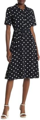 Sandra Darren Polka Dot Crepe Dress