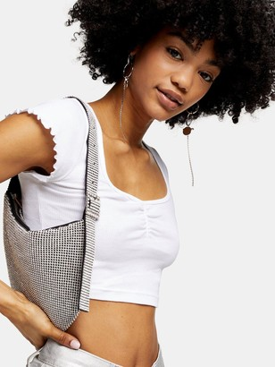 Topshop Rib Ruched Crop Top - White