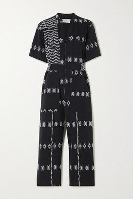 Pippa Holt - Embroidered Cotton Jumpsuit - Black