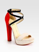 Suede and Leather Criss-Cross Colorblock Sandals