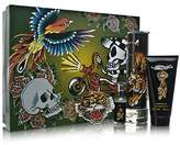 Christian Audigier ED HARDY by Gift Set for MEN: EDT SPRAY 3.4 OZ & SHOWER GEL 3 OZ & EDT SPRAY .25 OZ MINI & KEYCHAIN